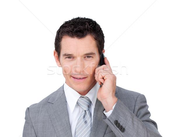 Karizmatikus üzletember telefon fehér üzlet mosoly Stock fotó © wavebreak_media