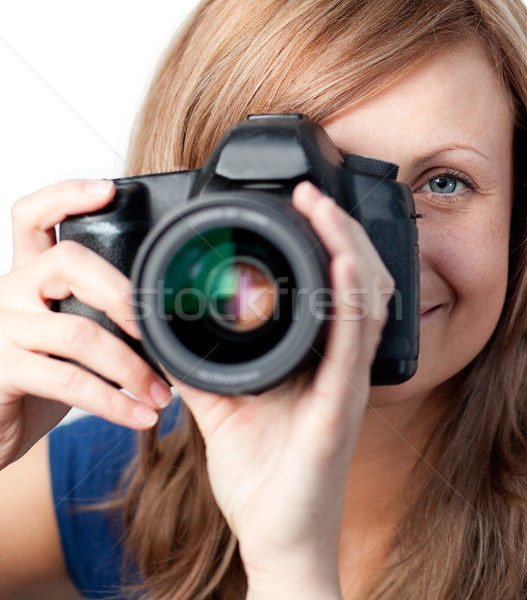 Glimlachende vrouw camera witte ruimte foto vrouwelijke Stockfoto © wavebreak_media
