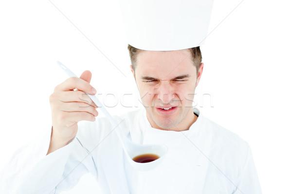 Młodych mężczyzna kucharz zupa zniekształcony Zdjęcia stock © wavebreak_media