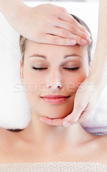 Fiatal bájos nő fej masszázs fürdő Stock fotó © wavebreak_media