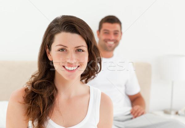 Couple ensemble chambre matin maison femme Photo stock © wavebreak_media