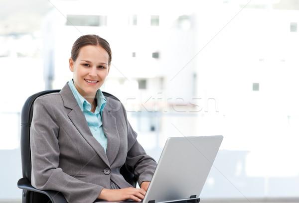 Fiatal menedzser dolgozik laptop ül asztal Stock fotó © wavebreak_media