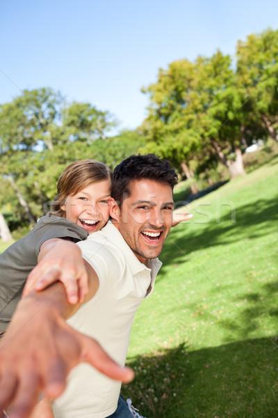 Ojciec gry syn parku rodziny uśmiech Zdjęcia stock © wavebreak_media