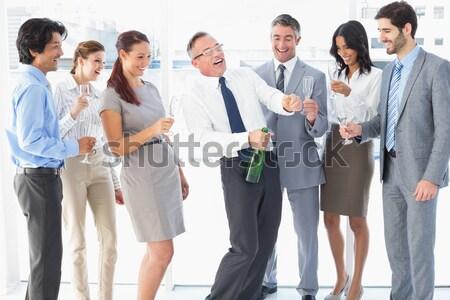 Stock foto: Collage · froh · Geschäftsleute · unterschiedlich · Büro · Arbeit