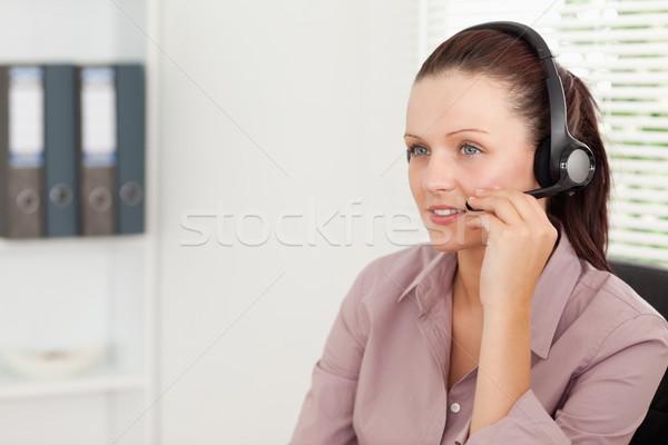 Operador escritório fone negócio computador mulher Foto stock © wavebreak_media