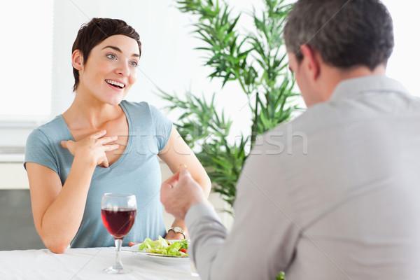 Stockfoto: Knap · vent · verwonderd · vriendin · restaurant · wijn