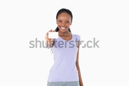 Gülümseyen kadın alışveriş beyaz moda arka plan Stok fotoğraf © wavebreak_media