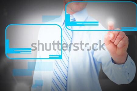 Portré üzletasszony kisajtolás láthatatlan kulcs kamera Stock fotó © wavebreak_media