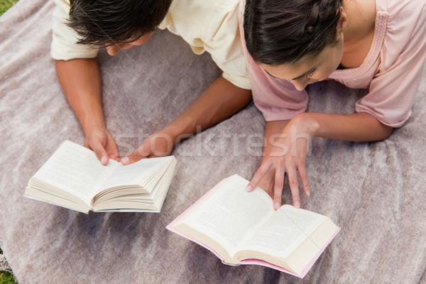 Görmek adam kadın okuma kitaplar battaniye Stok fotoğraf © wavebreak_media