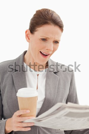 удивленный деловая женщина чтение газета бизнеса служба Сток-фото © wavebreak_media