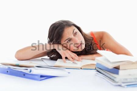 Foto stock: Entediado · feminino · estudante · lição · de · casa · branco · mão