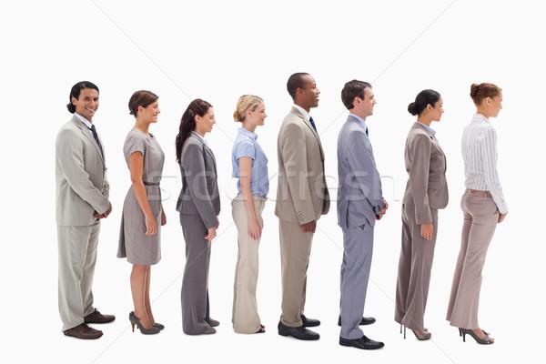 Profil gülen iş ekibi hat beyaz mutlu Stok fotoğraf © wavebreak_media