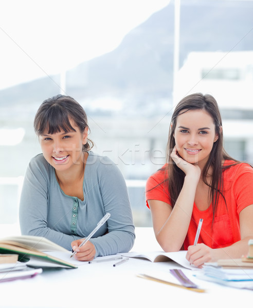 A pair of smiling women at a table as they work on homework together Stock photo © wavebreak_media