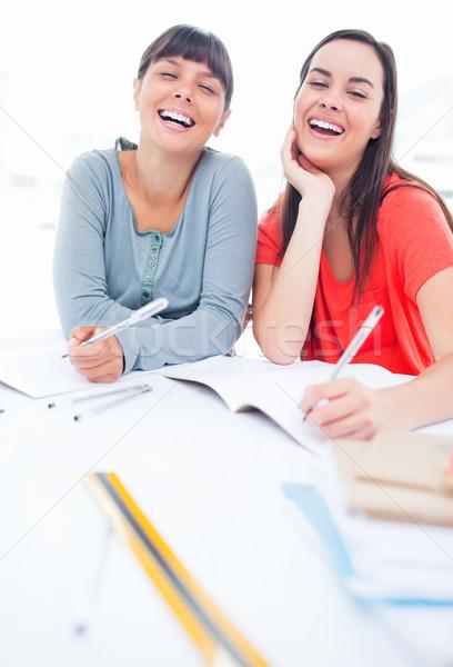 笑い ペア 女の子 表 宿題 図書 ストックフォト © wavebreak_media