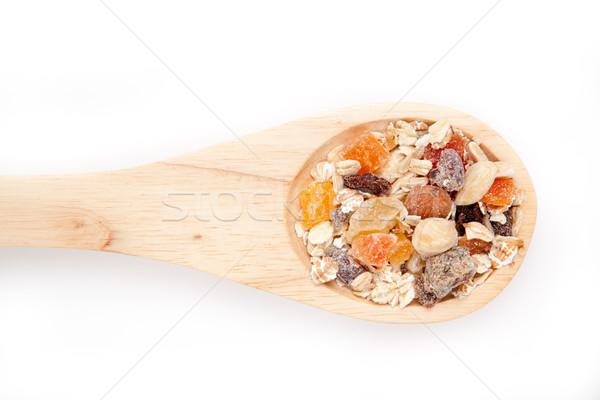 Cuchara de madera muesli blanco alimentos desayuno comer Foto stock © wavebreak_media
