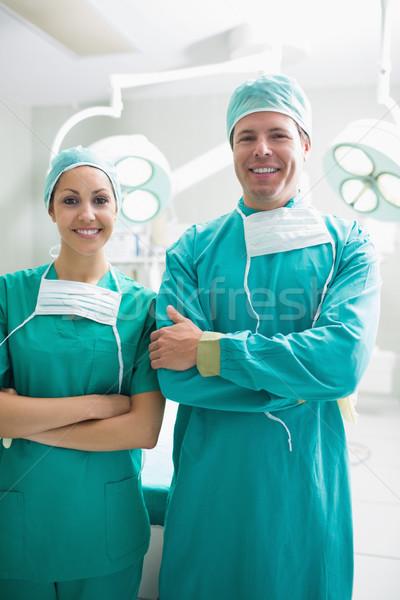 Cerrahlar bakıyor kamera gülen tiyatro adam Stok fotoğraf © wavebreak_media