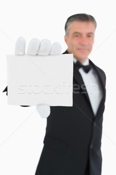 Cameriere scheda vuota carta shirt sorridere Foto d'archivio © wavebreak_media