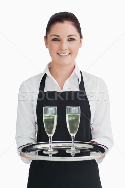 улыбаясь официантка лоток шампанского флейты Сток-фото © wavebreak_media