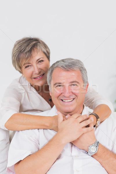 старые любителей улыбаясь камеры сидят Сток-фото © wavebreak_media
