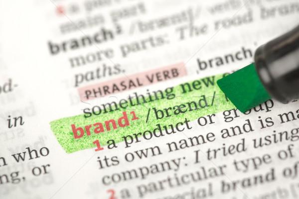 Merk definitie groene woordenboek onderwijs Rood Stockfoto © wavebreak_media