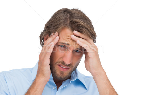 человека сильный головная боль белый рук Сток-фото © wavebreak_media