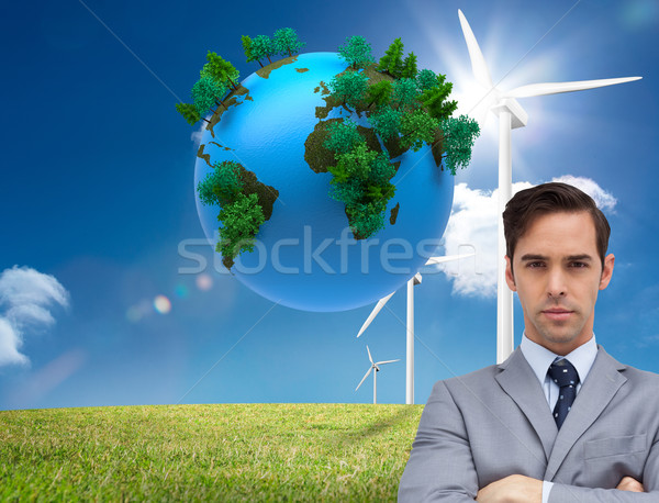 Composite image of young businessman looking at camera Stock photo © wavebreak_media