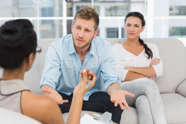 несчастный пару терапии человека говорить терапевт Сток-фото © wavebreak_media