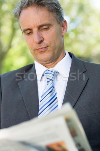 Zakenman lezing krant volwassen park zakenlieden Stockfoto © wavebreak_media
