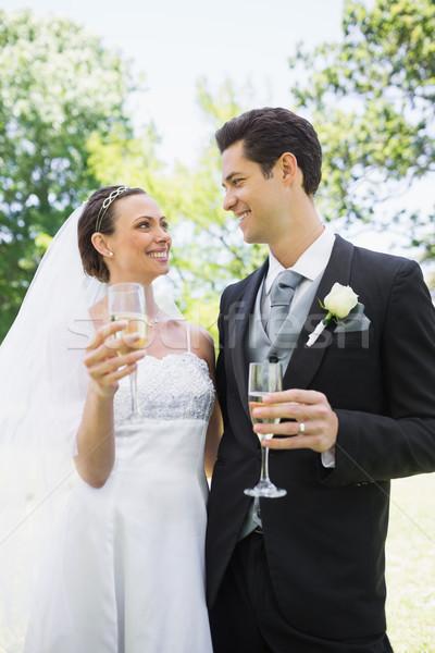 Romantique mariée marié champagne parc regarder Photo stock © wavebreak_media