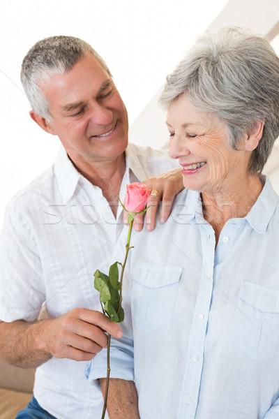 Senior man offering a rose to his partner  Stock photo © wavebreak_media