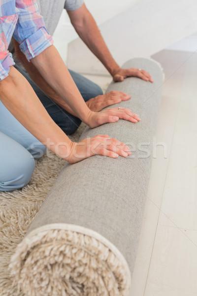 Pár ki új szőnyeg új otthon nő Stock fotó © wavebreak_media