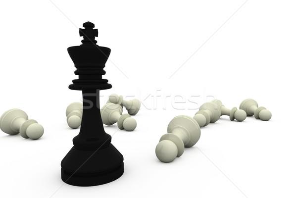 Negro rey pie blanco piezas ajedrez Foto stock © wavebreak_media