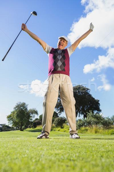 Foto stock: Animado · jogador · de · golfe · olhando · câmera
