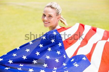 かなり ブルネット 着用 アメリカンフラグ 白 幸せ ストックフォト © wavebreak_media