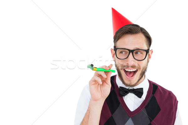 ヒップスター パーティ 帽子 ホーン 白 幸せ ストックフォト © wavebreak_media