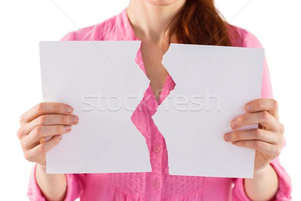 Mulher rasgado folha papel branco Foto stock © wavebreak_media