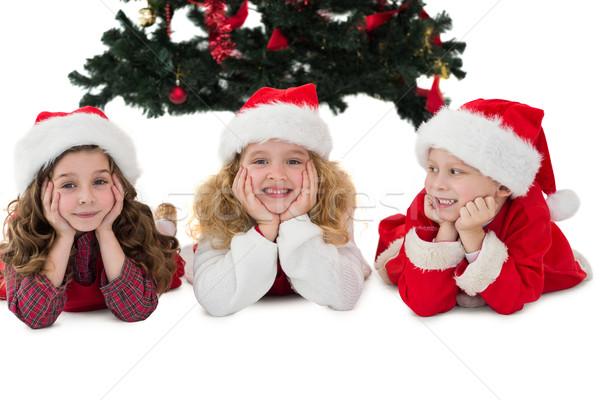 ünnepi kicsi testvérek mosolyog kamera fehér Stock fotó © wavebreak_media