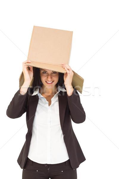 Empresária caixa cabeça branco Foto stock © wavebreak_media