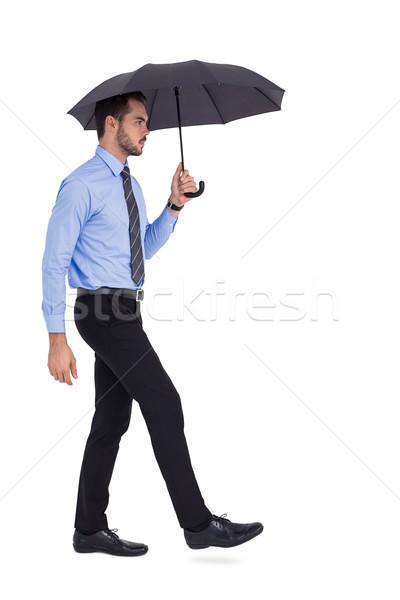 Odaklı işadamı şemsiye iş takım elbise siyah Stok fotoğraf © wavebreak_media