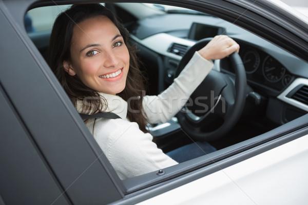 笑顔の女性 座席 車 ウィンドウ 女性 笑みを浮かべて ストックフォト © wavebreak_media