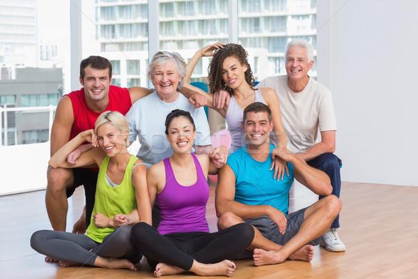 Szczęśliwych ludzi odzież sportowa fitness studio portret Zdjęcia stock © wavebreak_media