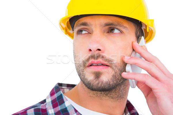 Szerelő telefon fehér férfi profi sisak Stock fotó © wavebreak_media