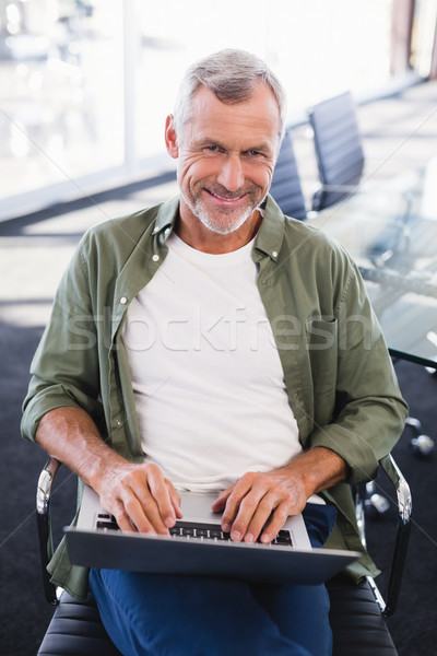 Portré mosolyog üzletember laptopot használ ül szék Stock fotó © wavebreak_media