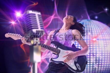 Vrouwelijke zanger mannelijke gitarist discotheek Stockfoto © wavebreak_media