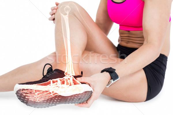 Foto stock: Baixo · seção · mulher · sofrimento · tornozelo · dor