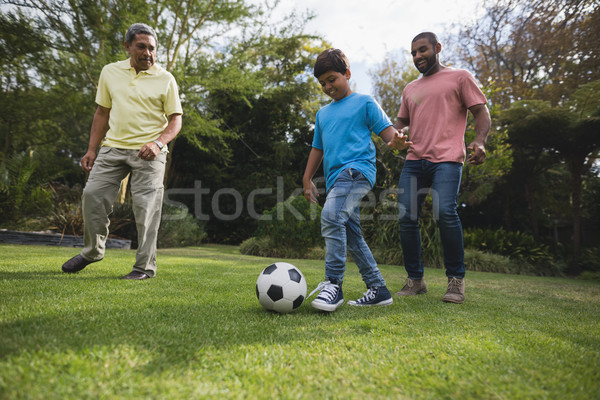 Smiling multi-generation family playing with soccer ball together at park Stock photo © wavebreak_media
