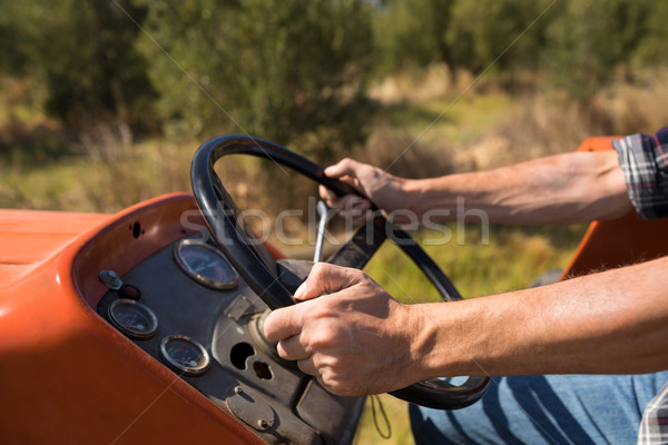 Mid section of man driving tractor in olive farm Stock photo © wavebreak_media