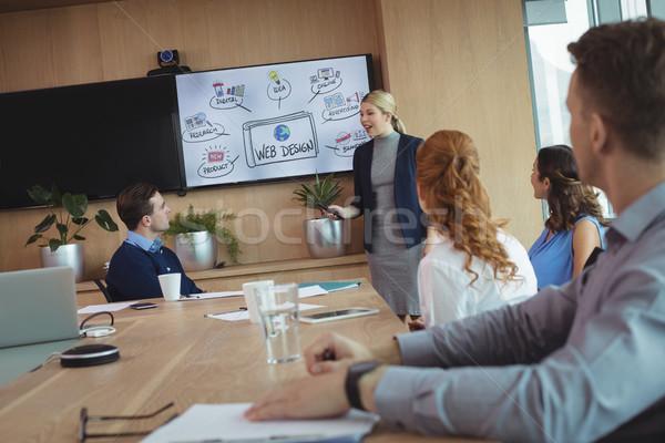 Jonge zakenvrouw collega's vergadering vrouw Stockfoto © wavebreak_media