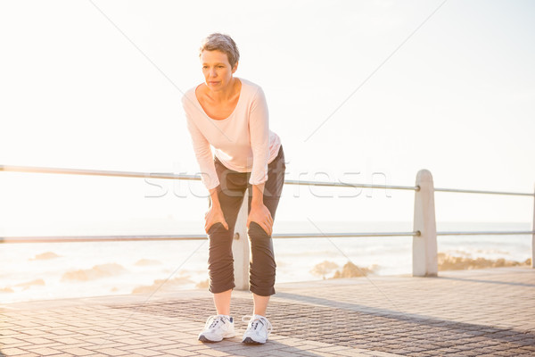 呼吸 スポーティー 女性 遊歩道 ストックフォト © wavebreak_media