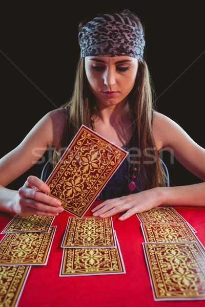 Jós tarot kártyák fekete nő olvas Stock fotó © wavebreak_media